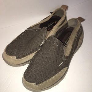 Men's brown Skechers loafers slip ons memory foam